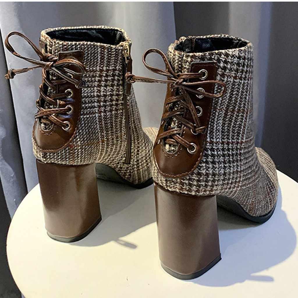 ข้อเท้ารองเท้าสำหรับสตรีฤดูใบไม้ร่วงฤดูหนาวลายสก๊อตข้อเท้า Elegant Lady ซิปหลัง CROSS ผูกรองเท้าส้นสูง botas mujer
