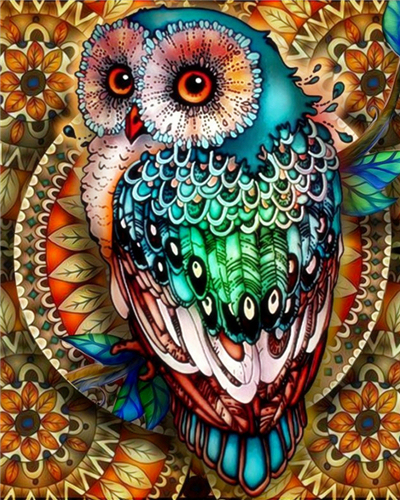 Painting By Numbers Bright Colours Owl Mosaic