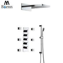Bathroom Shower Head Waterfall Rainfall Square Set 550*350mm 304 Stainless Steel Showers