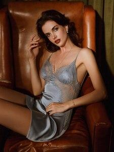 Image 4 - Женская летняя ночная рубашка, одежда для сна, домашняя одежда, шелковое атласное кружевное белье с ресницами на бретельках с открытой спиной, соблазнительное Сексуальное белье