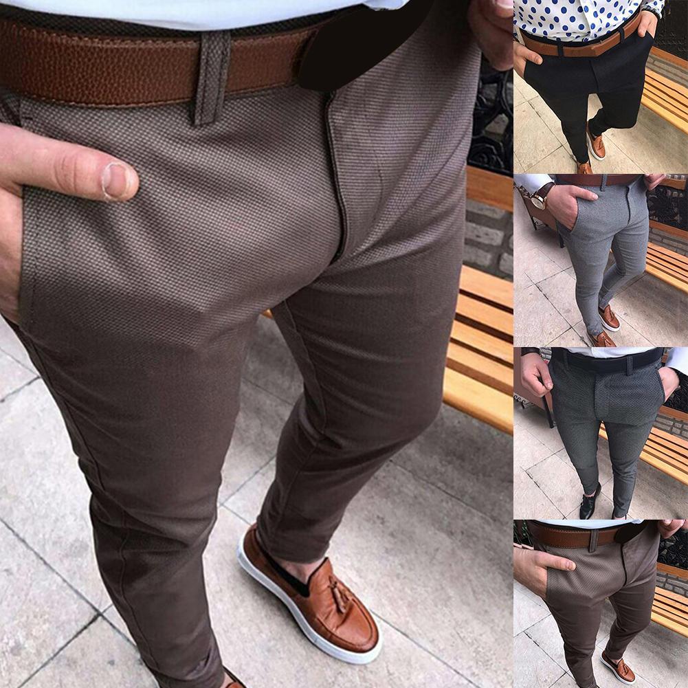 New Men Solid Color Mid Waist Pockets Cotton Elastic Pencil Pants Long Trousers