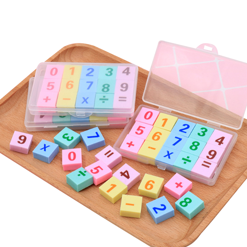 15pcs/pack Delight Digital Addition And Subtraction Boxed Eraser Clean School Student Kids Like Gift