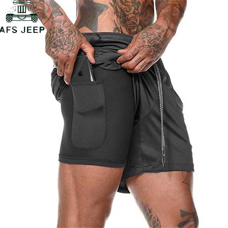 Joggers Shorts Mens 2020 Summer Training 2 In 1 Short Pants Male Fitness Bodybuilding Workout Quick Dry Beach Shorts Size M-3XL