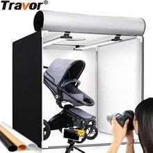 Travor ライトボックス 60*60 センチメートルポータブルソフトボックススタジオフォト led ライトと 3 色の背景卓上写真撮影 led ライト