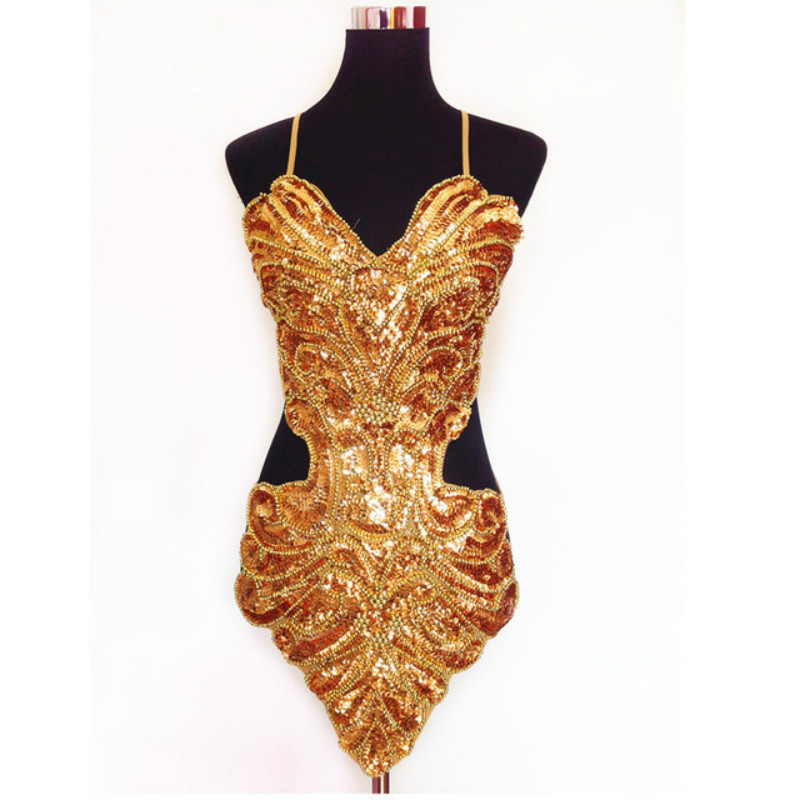 2020 Studio Art Photography Stage Sexy Sequin Beading Butterfly Bellyband Hollowed Halter Backless Lace-up Belly Dance Dress Set