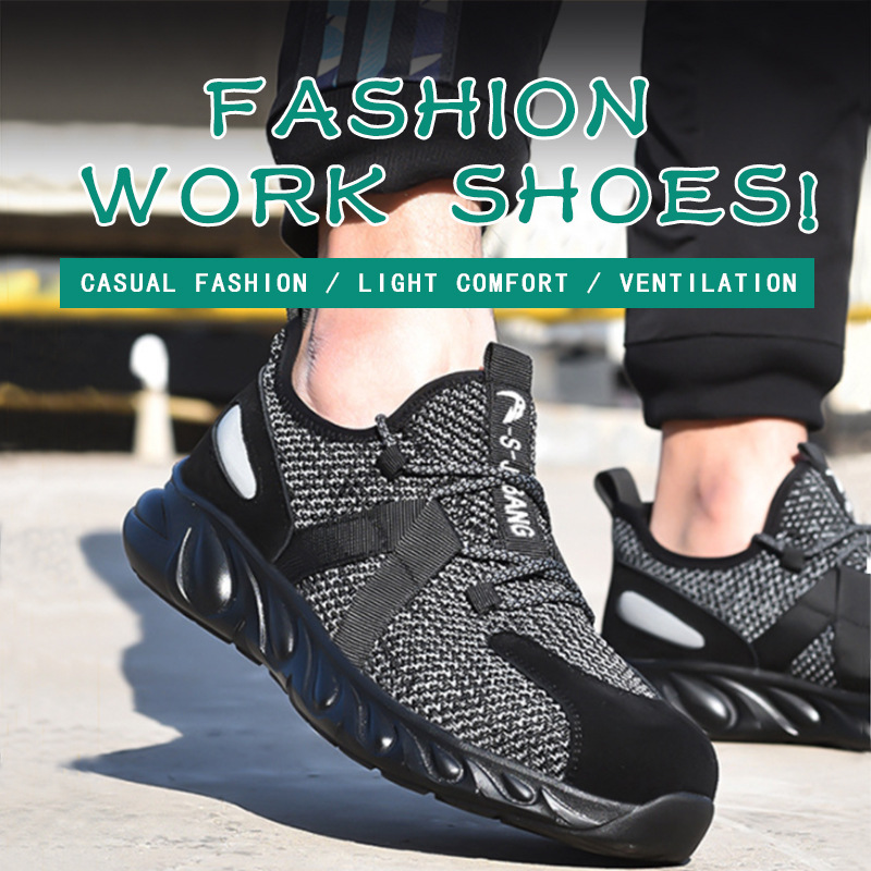 Men's Steel Toe Work Safety Shoes Steel Toe Cap Safety Protective Shoes New Design Short Boots Construction Shoes Casual