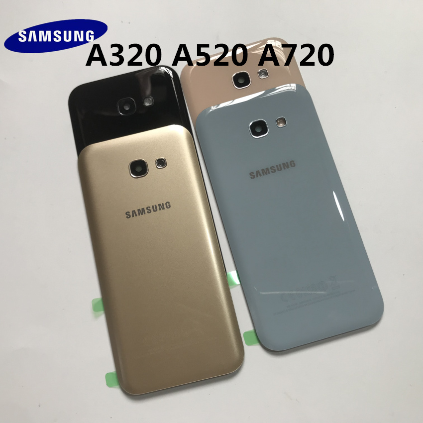 Original Back Glass For SAMSUNG Galaxy A3/A5/A7 2017 A320 A520 A720 Back Battery Glass Cover Rear Door Housing Case Replacement