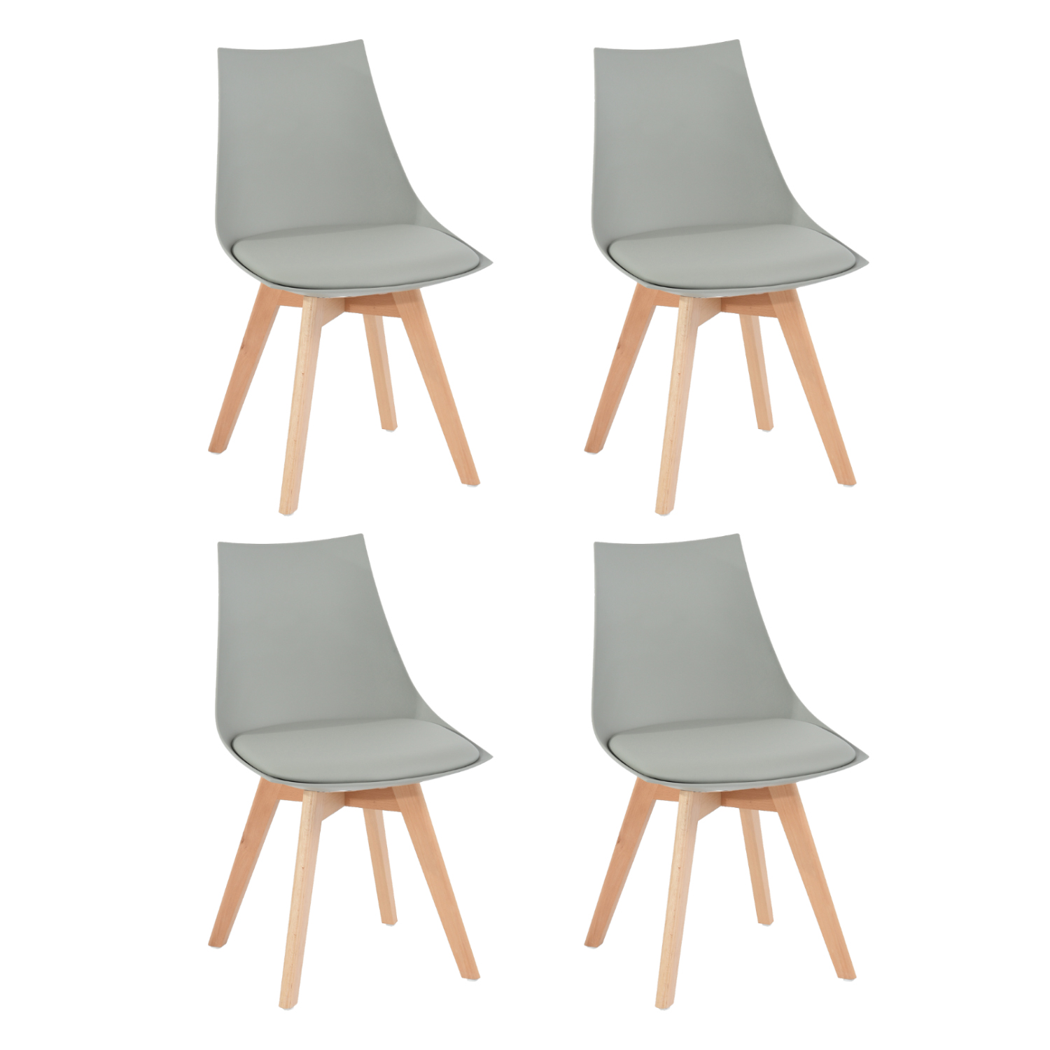 EGGREE Set Of 4pcs Mint Padded Dining Chair For Dining Room, Living Room And Bedroom - Grey - 2-8days EU Warehouse