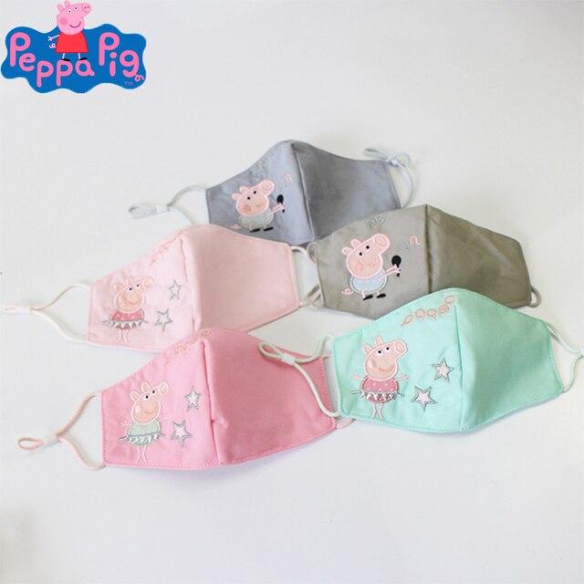 Peppa Pig Original Cotton Dust and Fog Prevention Masks Washable Children Cartoon Mask Action Figure Kids for Birthday Gift