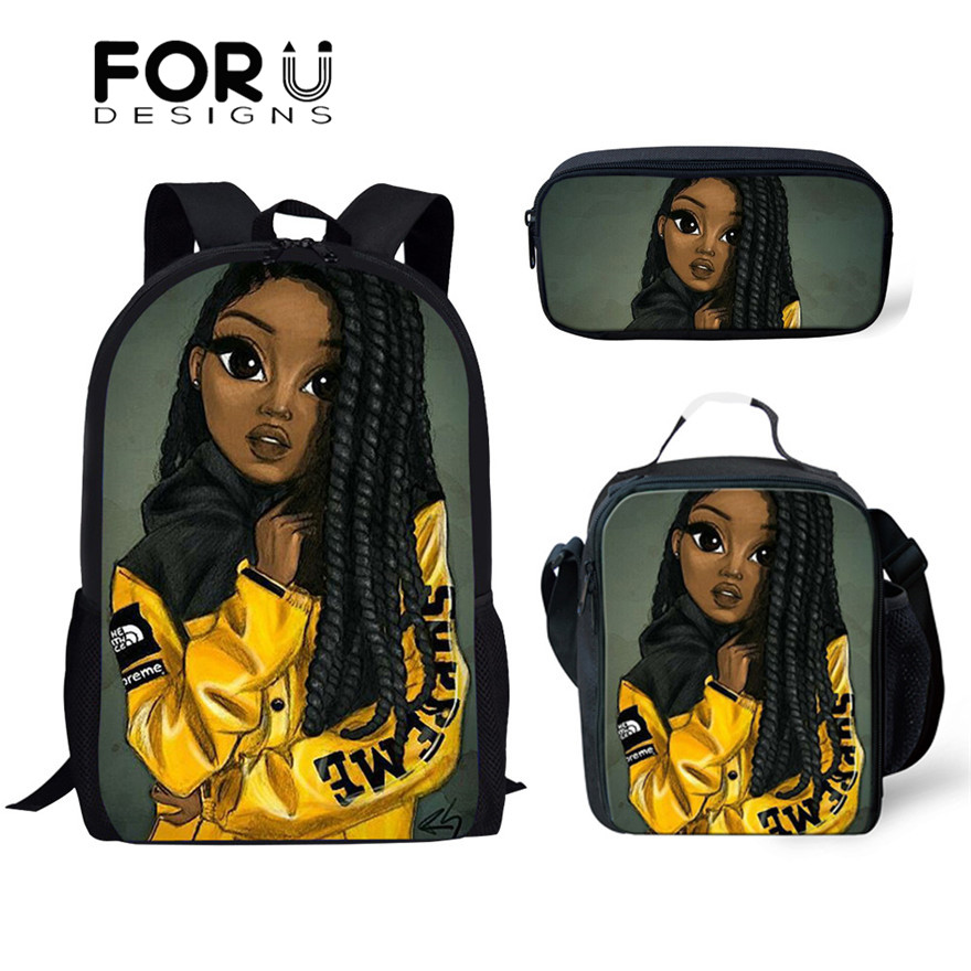 FORUDESIGNS Art Black Girls Print School Bags Set Bookbags For Teenage Boys 3pcs/set Primary Backpack With Lunch Box Pencil Bags