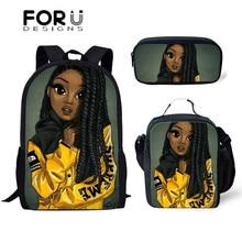 FORUDESIGNS Art Black Girls Print School Bags Set Bookbags f