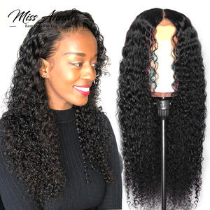 Bob Wig Human-Hair-Wigs Curly Lace-Front Missanna Water Kinky Deep-Wave Full
