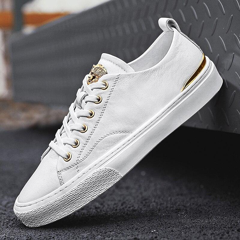 Туфли мужские на плоской подошве, удобные повседневные, теннисные туфли, на шнуровке, простые, белые, осень