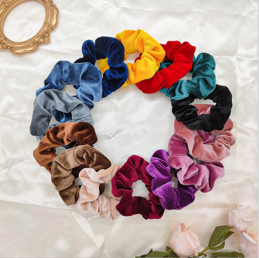 Fashion Velvet Hair Scrunchie Candy Color Elastic Hair Bands Ponytail Holder Hair Accessories Sweet Headwear Headband For Women