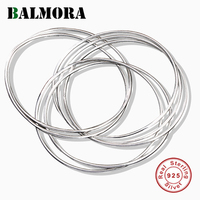 BALMORA Solid 925 Sterling Silver Multiple Circles Bracelet For Women Lover Thai Silver Simple Fashion Vintage Jewelry JWB5001