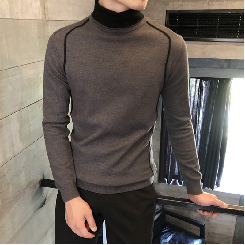 Men's Sweater 2019 Autumn And Winter New Solid Color High Collar Slim Casual Knit Sweater Youth Fashion Trend Men's Clothing