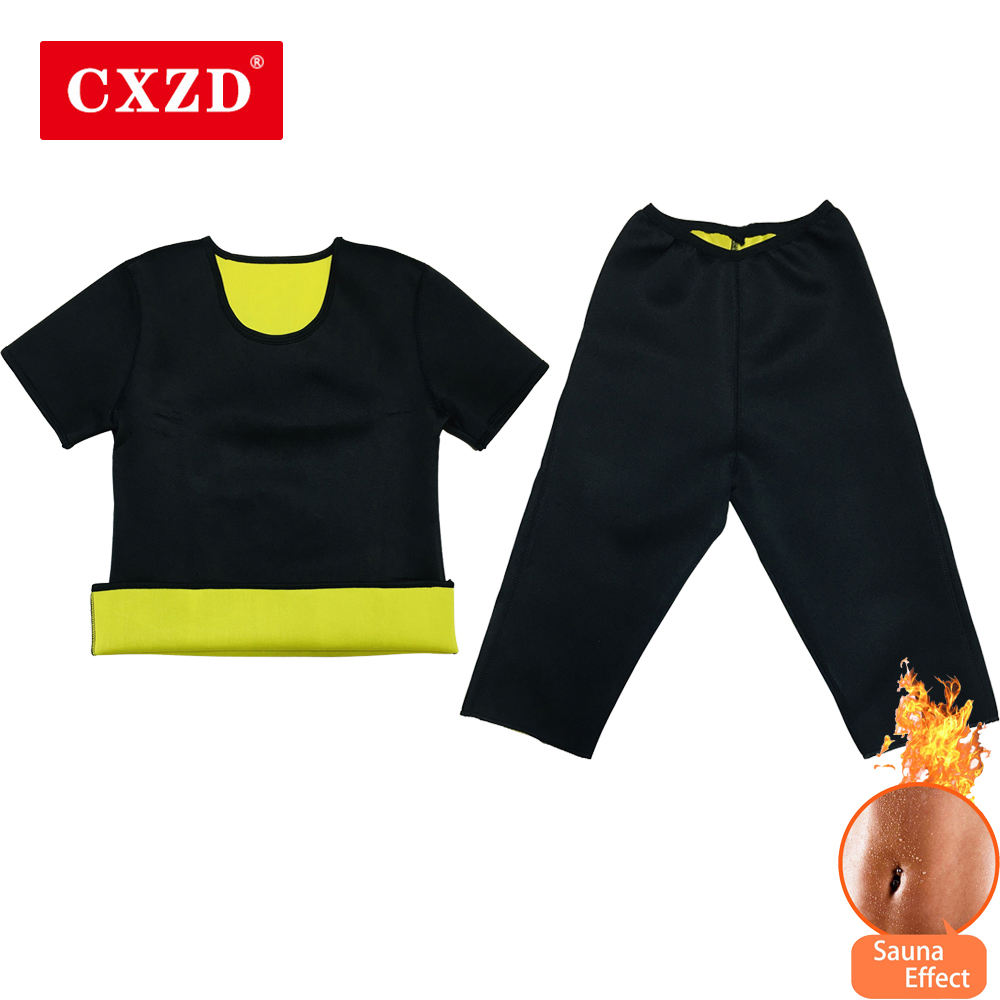CXZD Women Shapewear Pants + Shirt Body Shapers Waist Trainer Slimming Thermo Neoprene Sweat Sauna Reducing And Shaping Girdles