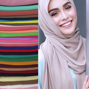 Image 1 - 고품질 진주 거품 시폰 이슬람 Hijab 스카프 목도리 머리 랩 Foulard 일반 솔리드 컬러
