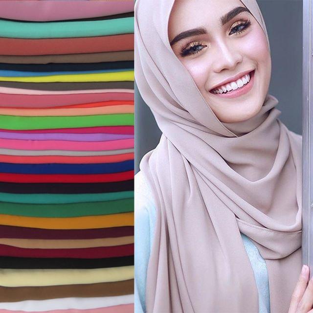 고품질 진주 거품 시폰 이슬람 Hijab 스카프 목도리 머리 랩 Foulard 일반 솔리드 컬러