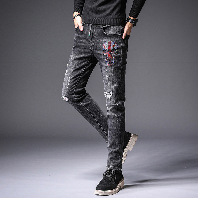 Spring New Style With Holes Jeans Men's Popular Brand Slim Fit Hot Drilling Elasticity Skinny Pants Korean-style Trend MEN'S Jea