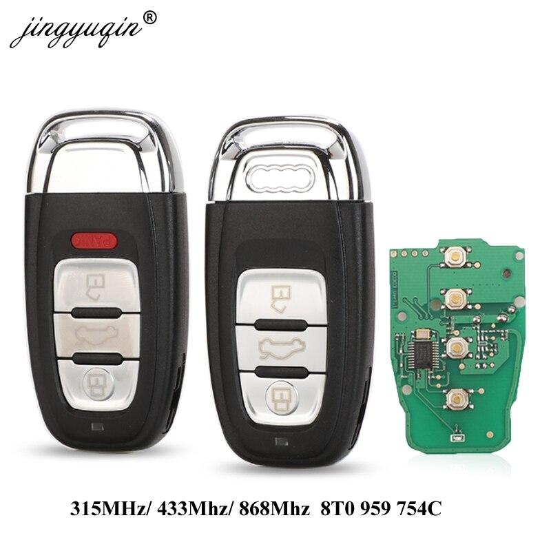Jingyuqin Смарт дистанционные брелки для ключей без ключа 3/4 Кнопка 315 МГц/433 МГц/868 МГц 8T0 959 754C для Audi Q5 A4L A5 A6 A7 A8 RS4 RS5 S4 S5