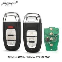 Jingyuqin Keyless 3/4 Botão Inteligente Remoto Chave 315MHz/433MHZ/868MHZ 8T0 959 754C para Para Audi Q5 A4L A5 A6 A7 A8 RS4 RS5 S4 S5