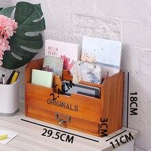 Деревянный ящик для хранения, Стеллаж с буквами, винтажный держатель, почтовая Почта, бумажный органайзер для карт, для домашнего офиса, TP899