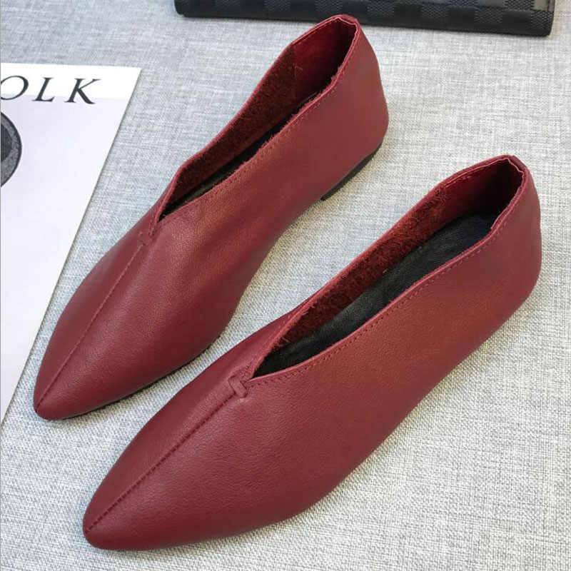 Fashion Women Leather Shoes Loafers Soft Ladies Leisure Flats Casual Lazy  Shoes