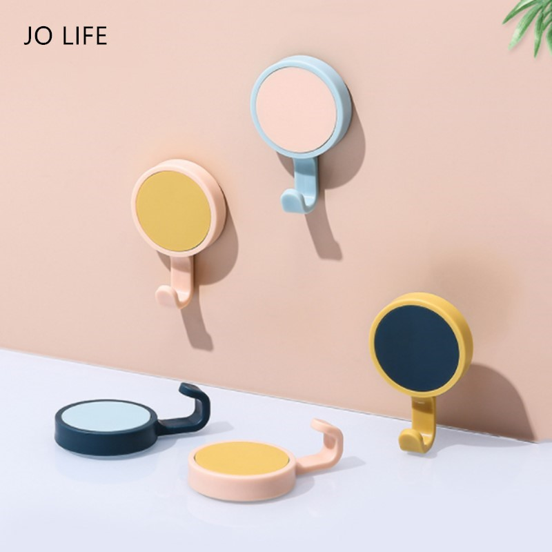 JO LIFE 3pcs/set Nordic Style Wall Hanger Hook 360 Degree Rotatable Seamless Adhesive Spinning Hanging Novelty Macaron Color