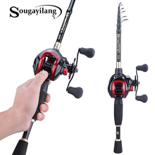 Sougayilang 1.8-2.4m Telescopic Casting Fishing Combo Portable Ultralight Rod and 7.1:1 Gear Ratio Fishing Reel Fishing Tackle