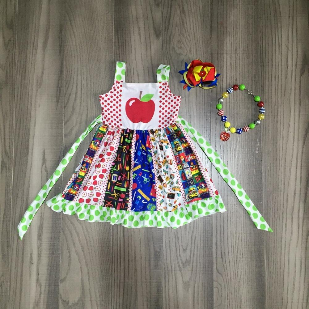 Baby Girls Summer Dress Girls Back To School Clothes Apple Print Twirl Dress Girls Boutique Dress With Accessories