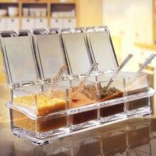 Прозрачная подставка для специй горшки для специй Бытовая акриловая приправа коробка контейнер для хранения банки для приправ Cruet с крышкой и ложкой