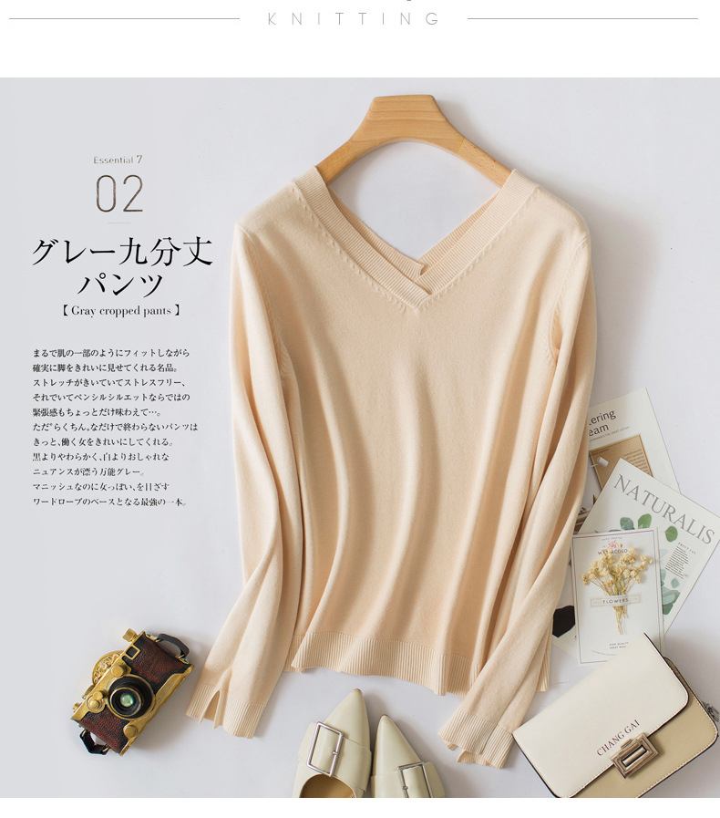 Fashion V-neck Sweater Women Winter Cashmere Jumpers New Wool Knit Female Long Sleeve Thick Pullover Top Women Christmas Jumper 10