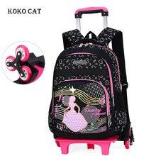 School Backpack With Wheel Children Trolley Bag Removable Kids Orthopedic Satchel Bookbag Mochila Infantil Escolares