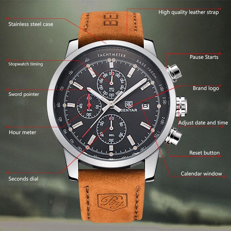 BENYAR zegarki mężczyźni luksusowej marki zegarek kwarcowy moda chronograf Reloj Hombre zegarek sportowy mężczyzna godzina Relogio Masculino 6