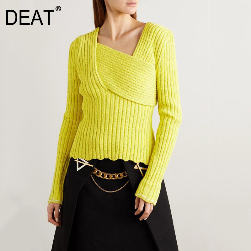 DEAT 2020 New Spring Solid Color V-neck Knit Sweater Women Vintage Slim Sexy Irregular Temperament Pullover Clothing Tops PD533