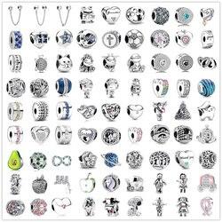 Novo original 925 prata pulseiras acessórios charme talão ajuste pandora encantos prata 925 contas pulseira para as mulheres diy jóias presente