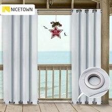 A cortina exterior do pátio de nicetown drapeja os painéis superiores e inferiores dos grommets blackout impermeável oídio resistente cortinas para exterior