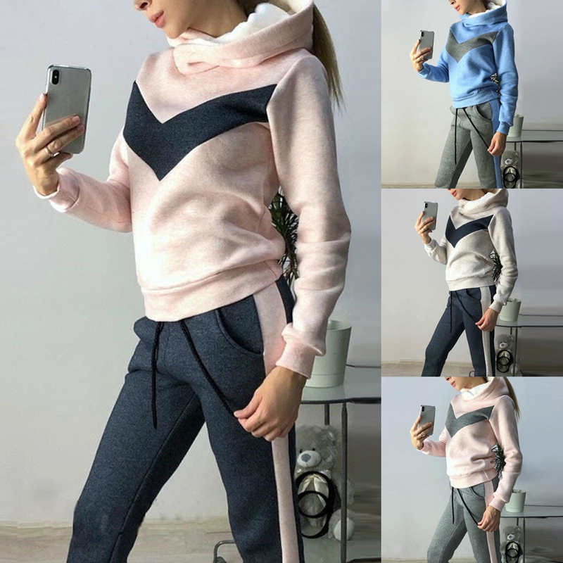 Winter Women Tracksuits Sports Suits Plus Velvet Hoodies Sweatshirts Pants Running Set Fleece Sportswear Warm Thicken Clothing