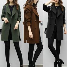 Women Wool Blend Warm Long Coat Plus Size Female Slim Fits Lapel Woolen Overcoat Autumn Winter Cashmere Outerwear manteau femme cheap REGULAR Casual Button Solid Single Breasted Turn-down Collar 14019011 Full