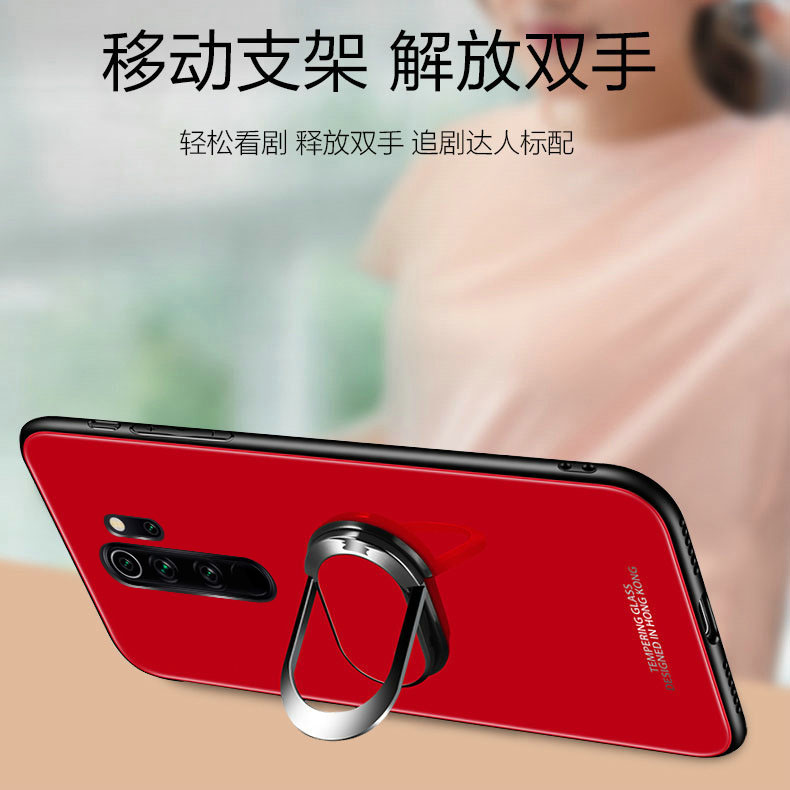 Soft Frame Standing Case With Tempered Glass Magnet Ring Holder for Xiaomi Redmi Note 8 Pro 5