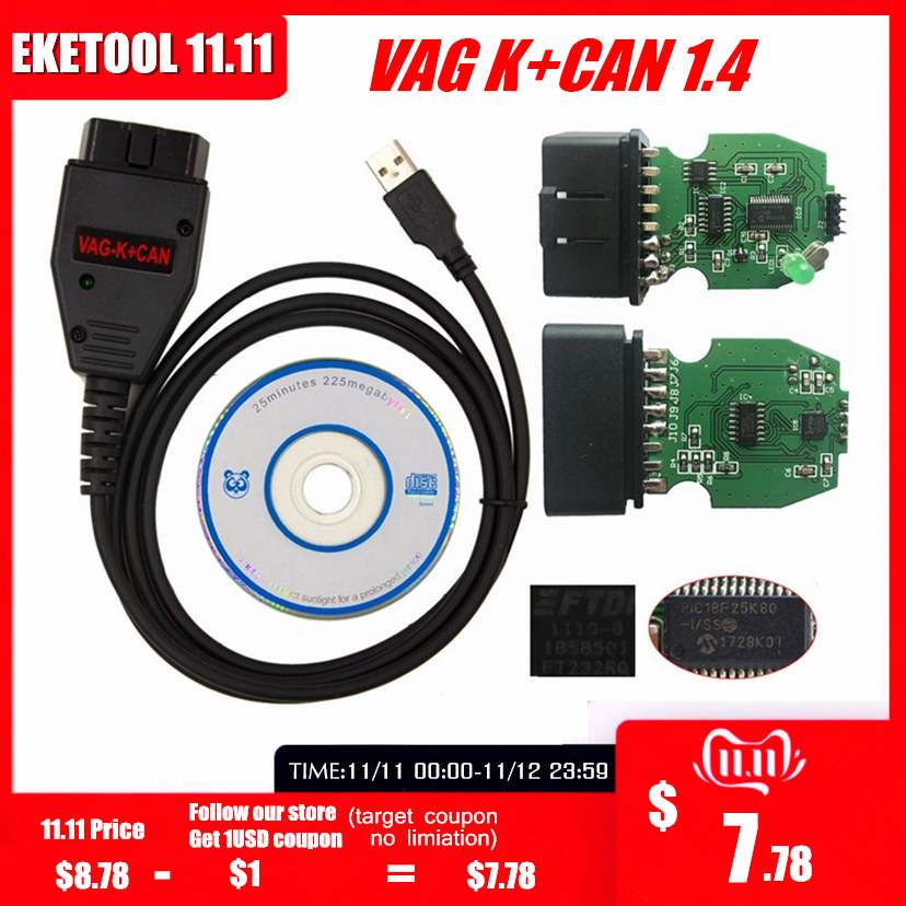 For VAG K+CAN Commander 1.4 Green PCB PIC18F25K80 FTDI FT232RQ Chip For AUDI/VW/Skoda/Seat VAG K+CAN 1.4 K-Line Commander Full
