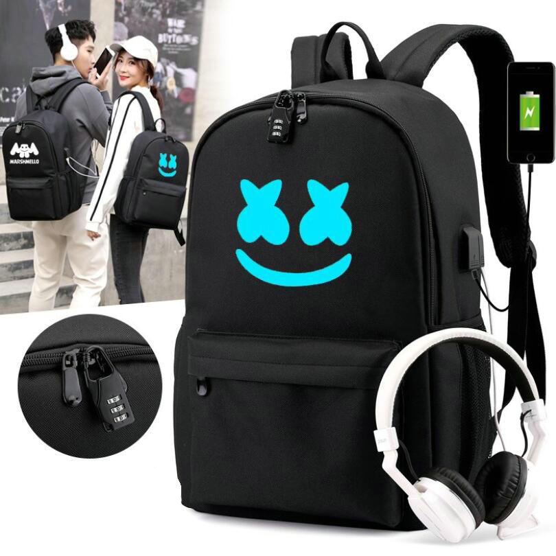 DJ Marshmallow Backpack Multifunction USB Charging For Teenagers Boys Student Girls School Bags Travel Luminous Bag Laptop Pack