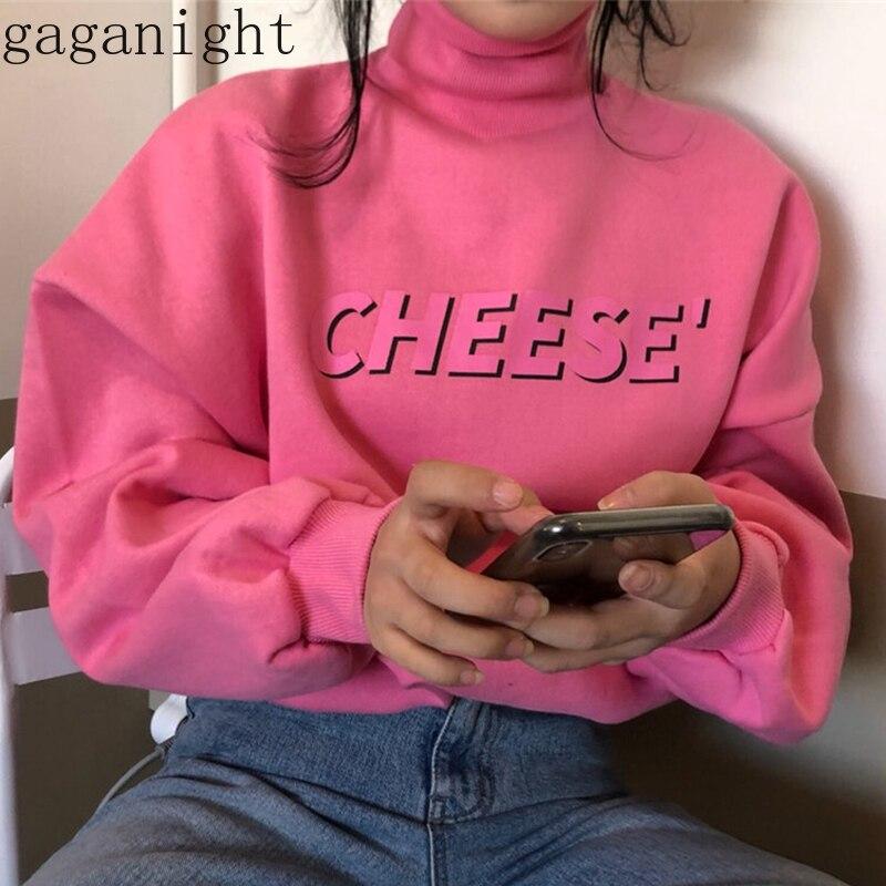 Gaganight Pink Cute Girls Fleece Hoodies Long Sleeve Turtleneck Letter Print Women Sweatershirt Casual Loose Fashion Hoody Chic