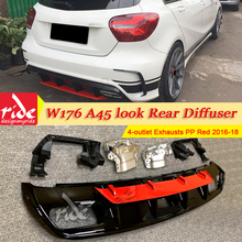 For Mercedes Benz W176 Sports Edition Rear Diffuser Lip A180 A200 A45 look Diffuser+304 Stainless Steel 4-Outlet Exhaust Tip 16+