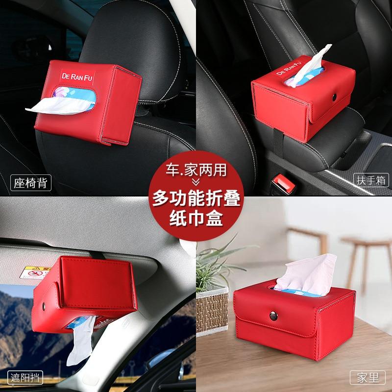 Cross Border Car Folding Tissue Box Chair Sun Shade Armrest Box Dashboard Universal Tissue Bag Creative Multi-functional
