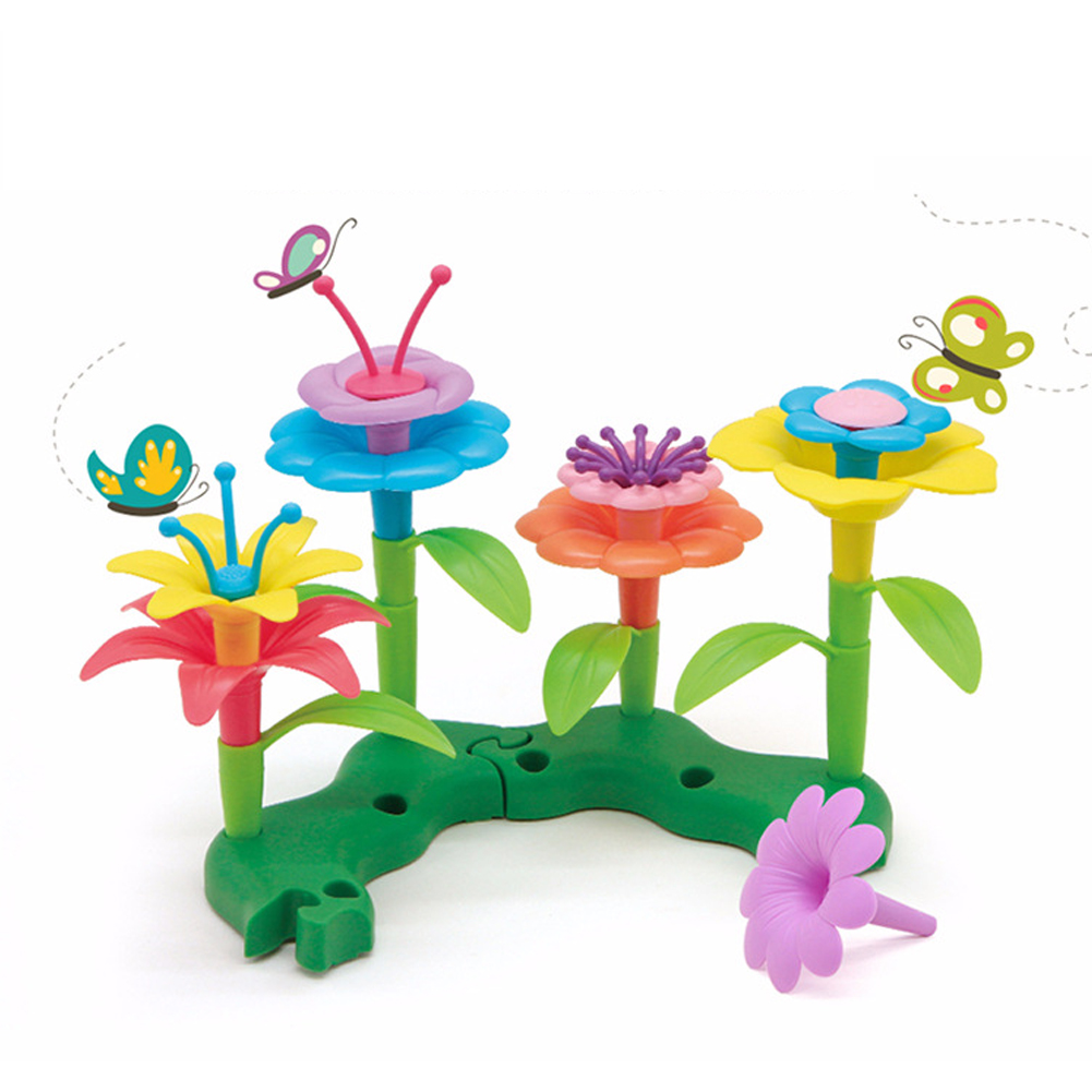 46pcs DIY Fun Building Growing Colorful Assemble Toy Flower Arrangement Playset Bouquet For Kids Educational Learning Craft