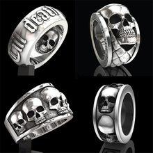 Simples hip hop rock crânio retro punk moda anel coleção presente de aniversário dos homens festa jóias atacado