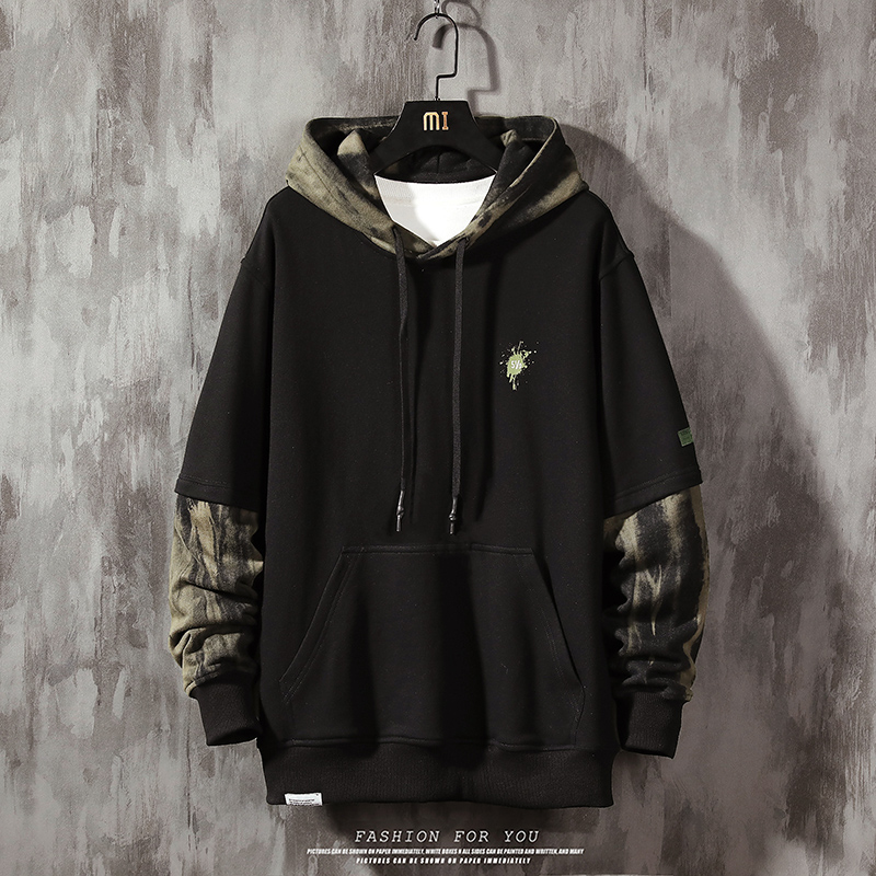 camouflage Hoodies for men spring Fashion Hoodies Men's Sweatshirts Solid Color Splice Hoodies Street Style