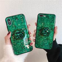 Luxe glitter marmer diamant ring houder siliconen telefoon case voor iphone 7 8 6 S plus X XR XS MAX voor samsung S8 S9 NOTE 8 9(China)